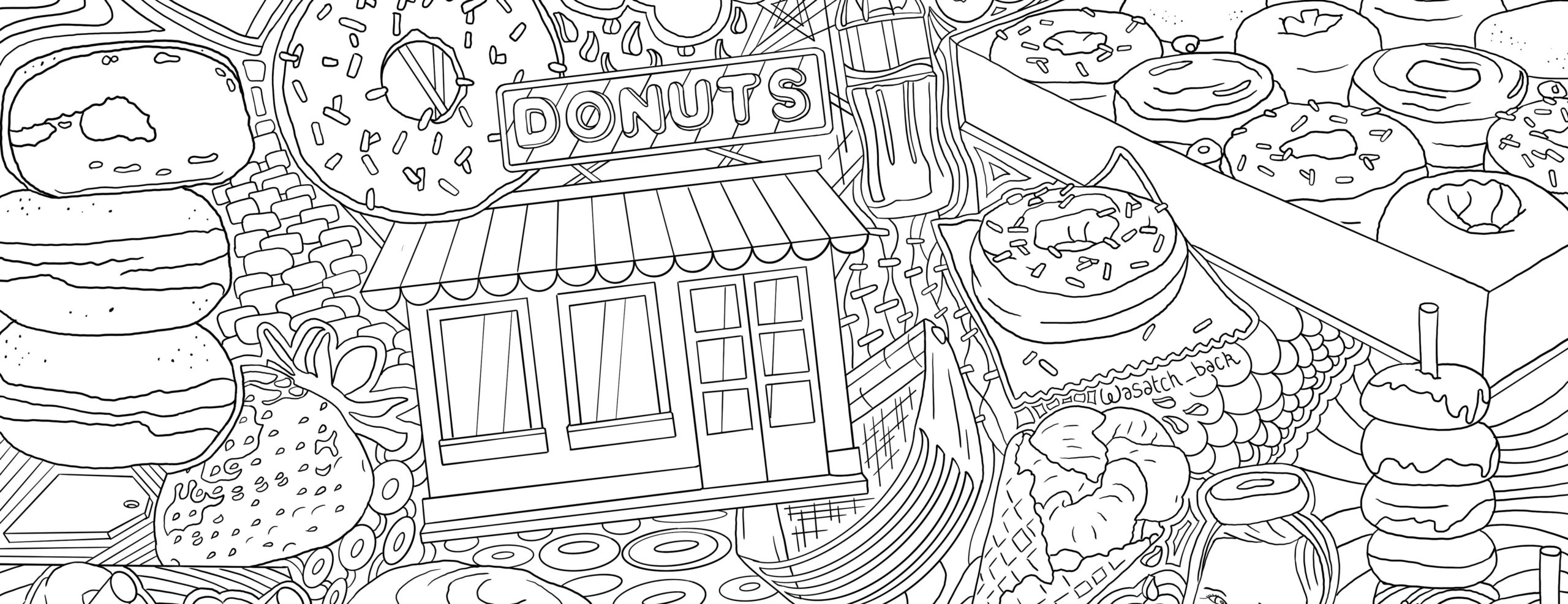 Donut And Dessert Coloring Page Donut Critic